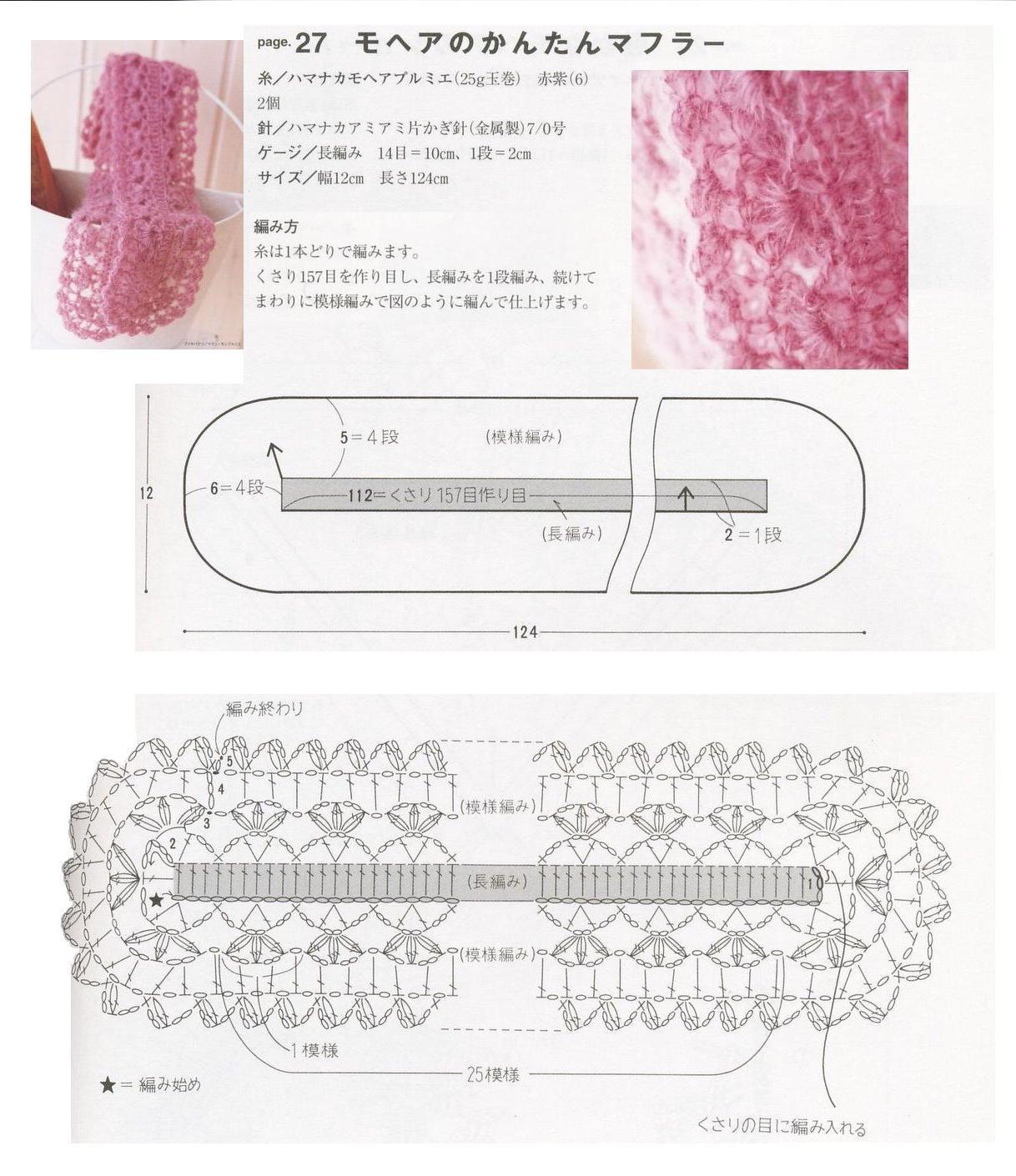 Ажурный шарф для девочки спицами схемы и описание