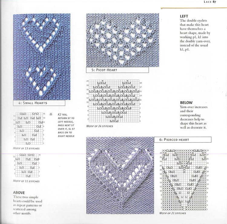 Вязание ажурных узоров спицами схемы сердечки