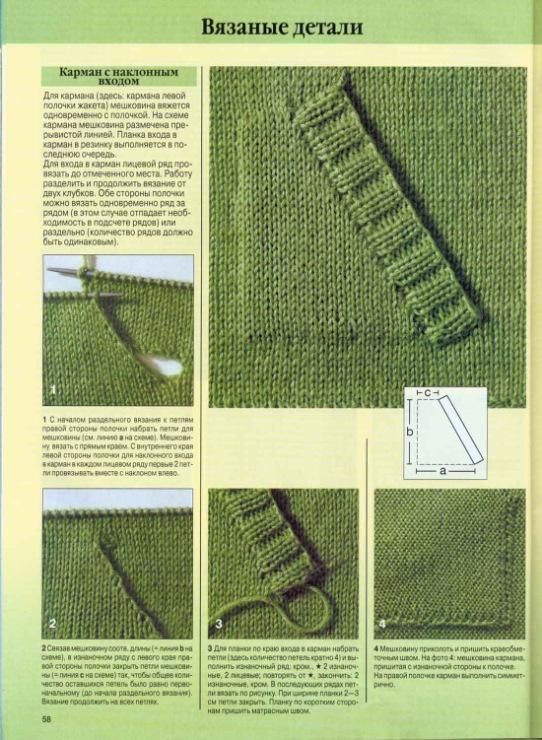Как связать карманы спицами