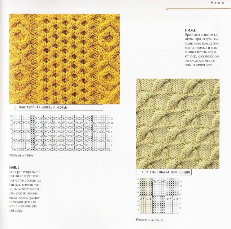 Объемные узоры спицами с описанием и схемами фото