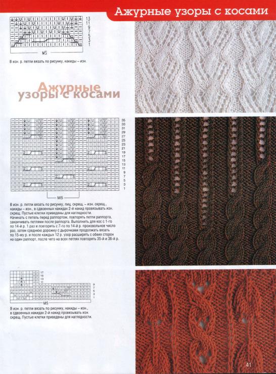 Вязание спицами косы и ажур схемы