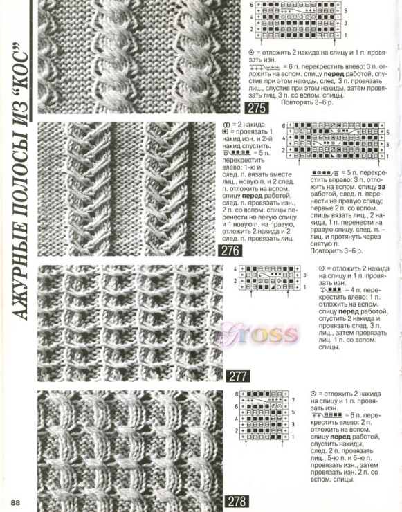Схемы вязания косы с резинкой