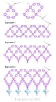 Цепочки-сеточки (схемы из бисера) .